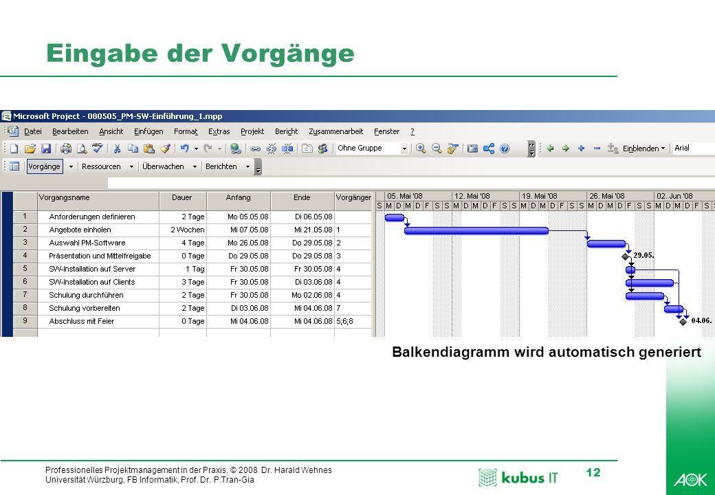 kubus IT Professionelles Projektmanagement in der Praxis, © 2008 Dr. Harald Wehnes Universität Würzburg, FB Informatik, Prof. Dr. P.Tran-Gia 12 Eingab