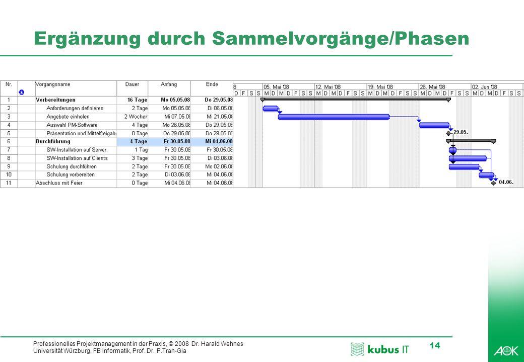 kubus IT Professionelles Projektmanagement in der Praxis, © 2008 Dr. Harald Wehnes Universität Würzburg, FB Informatik, Prof. Dr. P.Tran-Gia 14 Ergänz