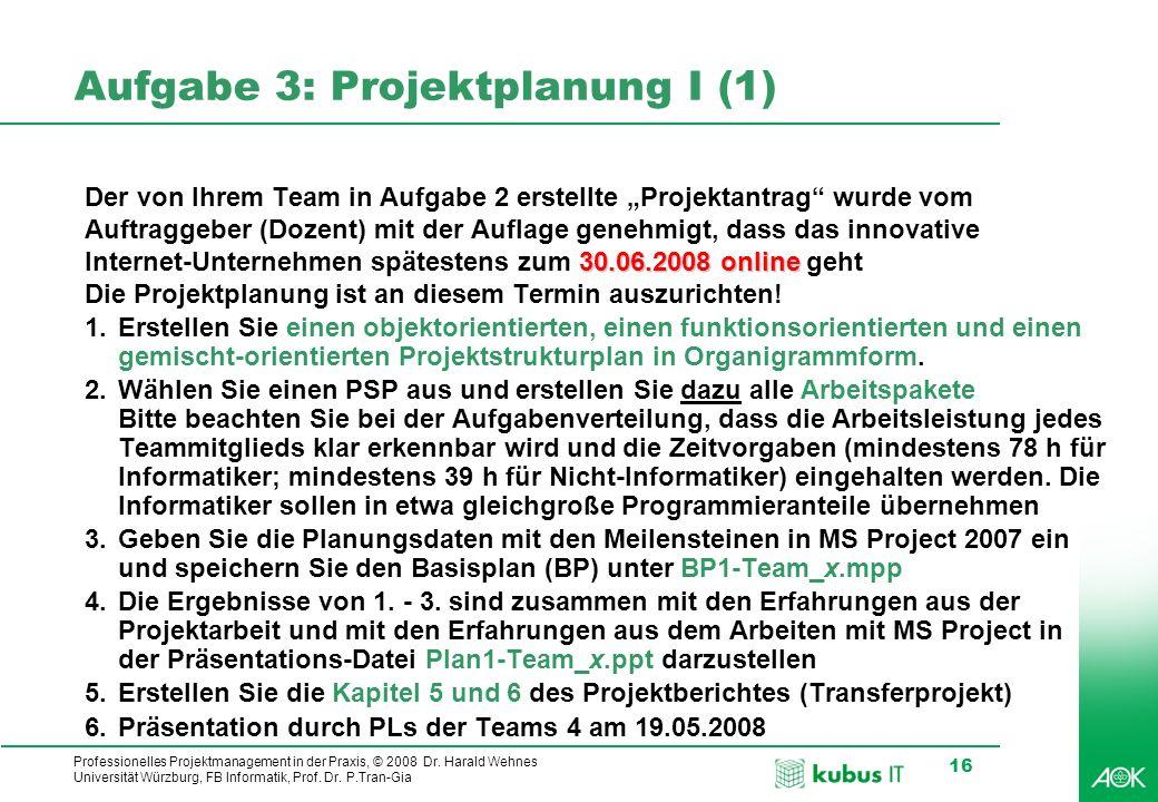 kubus IT Professionelles Projektmanagement in der Praxis, © 2008 Dr. Harald Wehnes Universität Würzburg, FB Informatik, Prof. Dr. P.Tran-Gia 16 Aufgab