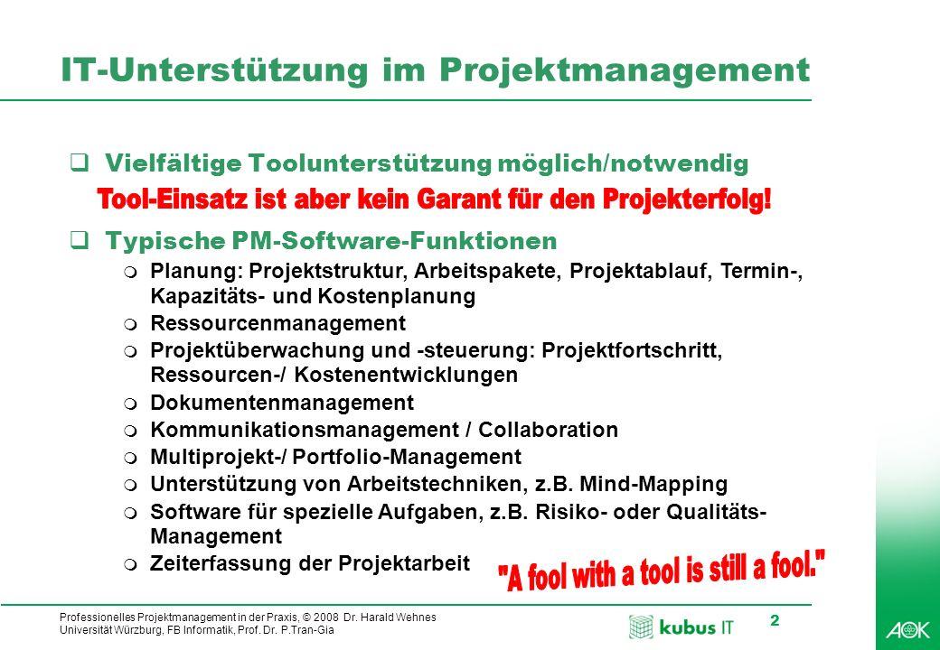 kubus IT Professionelles Projektmanagement in der Praxis, © 2008 Dr. Harald Wehnes Universität Würzburg, FB Informatik, Prof. Dr. P.Tran-Gia 2 IT-Unte