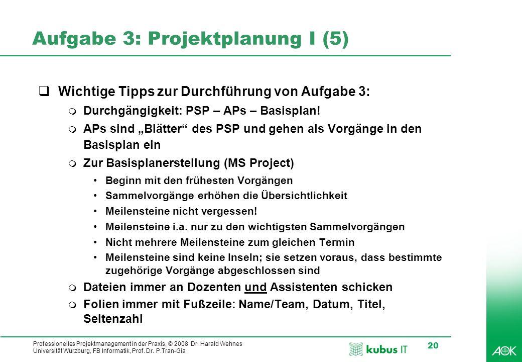 kubus IT Professionelles Projektmanagement in der Praxis, © 2008 Dr. Harald Wehnes Universität Würzburg, FB Informatik, Prof. Dr. P.Tran-Gia 20 Aufgab