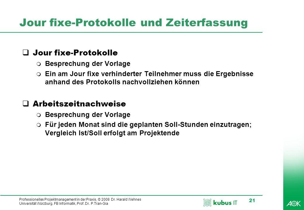 kubus IT Professionelles Projektmanagement in der Praxis, © 2008 Dr. Harald Wehnes Universität Würzburg, FB Informatik, Prof. Dr. P.Tran-Gia 21 Jour f