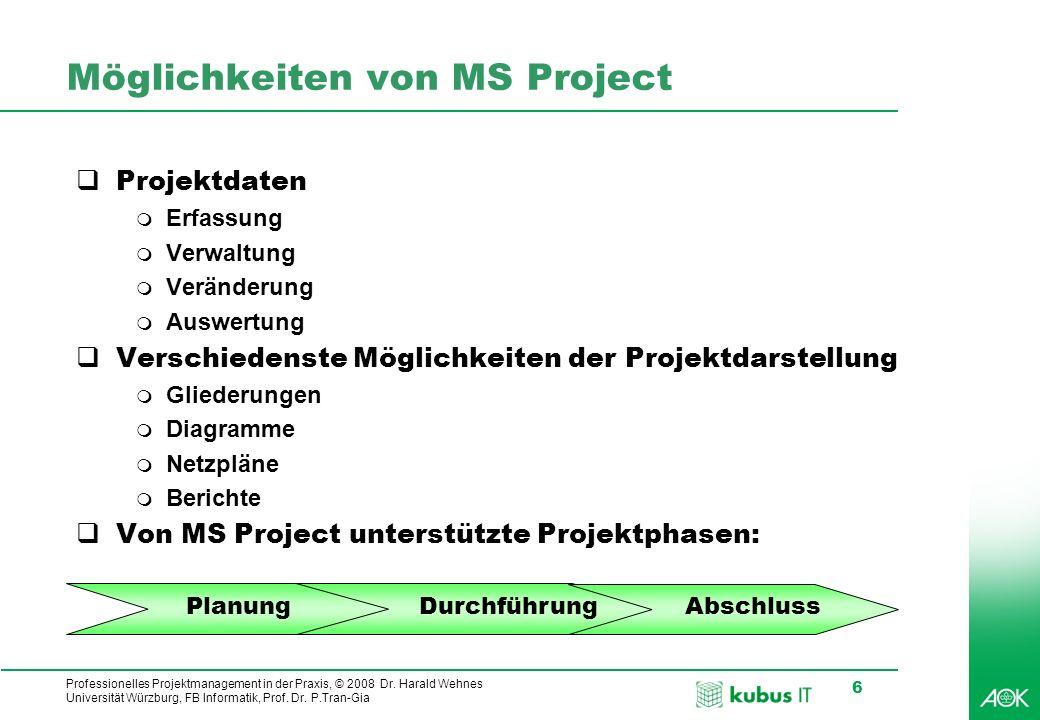 kubus IT Professionelles Projektmanagement in der Praxis, © 2008 Dr. Harald Wehnes Universität Würzburg, FB Informatik, Prof. Dr. P.Tran-Gia 6 Möglich