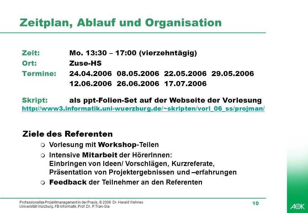 Professionelles Projektmanagement in der Praxis, © 2006 Dr. Harald Wehnes Universität Würzburg, FB Informatik, Prof. Dr. P.Tran-Gia 10 Zeitplan, Ablau