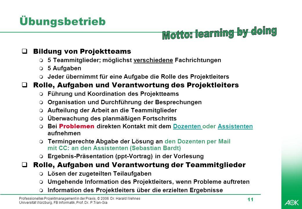 Professionelles Projektmanagement in der Praxis, © 2006 Dr. Harald Wehnes Universität Würzburg, FB Informatik, Prof. Dr. P.Tran-Gia 11 Übungsbetrieb B