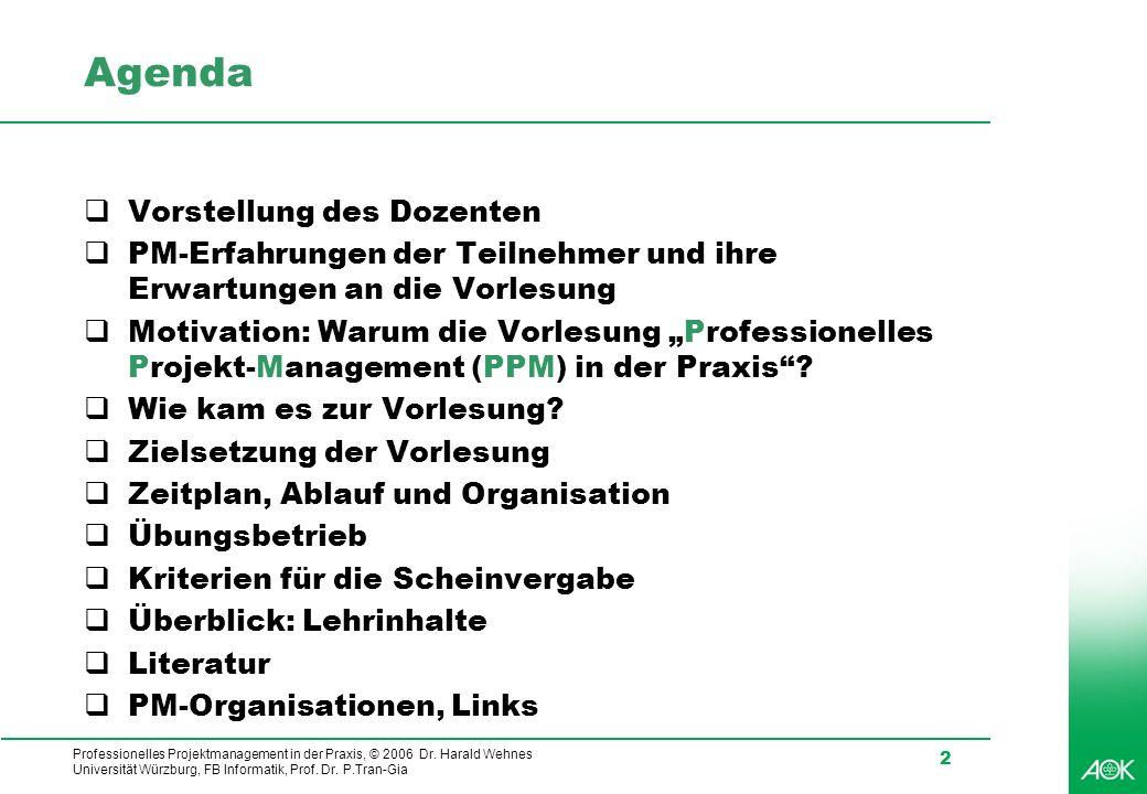 Professionelles Projektmanagement in der Praxis, © 2006 Dr. Harald Wehnes Universität Würzburg, FB Informatik, Prof. Dr. P.Tran-Gia 2 Agenda Vorstellu
