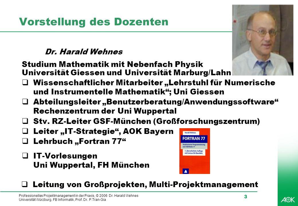 Professionelles Projektmanagement in der Praxis, © 2006 Dr. Harald Wehnes Universität Würzburg, FB Informatik, Prof. Dr. P.Tran-Gia 3 Vorstellung des