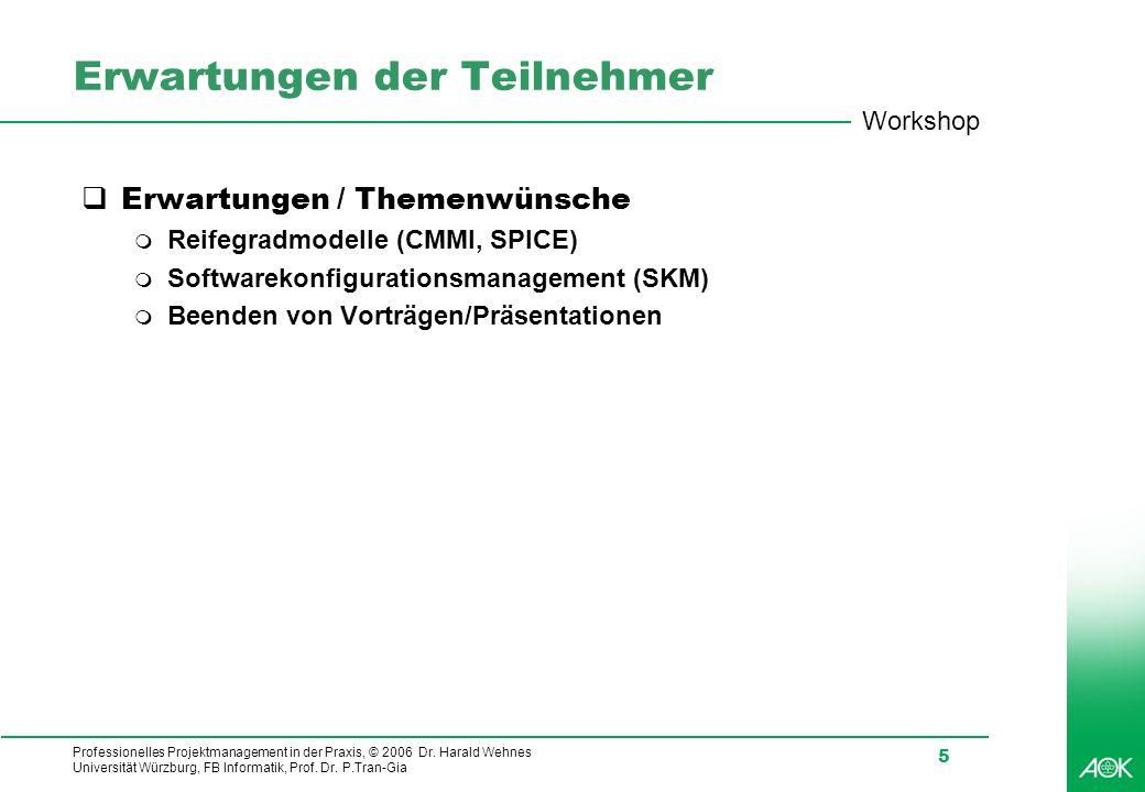 Professionelles Projektmanagement in der Praxis, © 2006 Dr. Harald Wehnes Universität Würzburg, FB Informatik, Prof. Dr. P.Tran-Gia 5 Erwartungen der