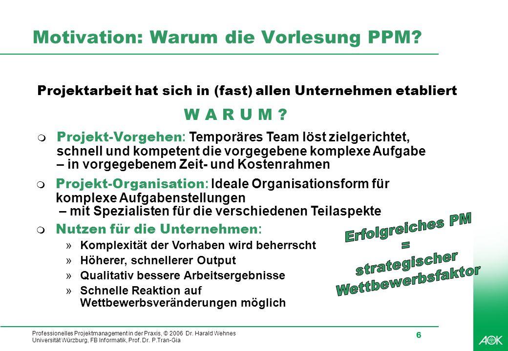Professionelles Projektmanagement in der Praxis, © 2006 Dr. Harald Wehnes Universität Würzburg, FB Informatik, Prof. Dr. P.Tran-Gia 6 Motivation: Waru
