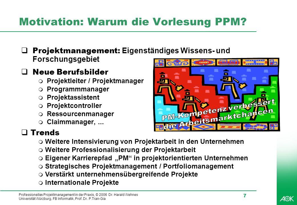 Professionelles Projektmanagement in der Praxis, © 2006 Dr. Harald Wehnes Universität Würzburg, FB Informatik, Prof. Dr. P.Tran-Gia 7 Motivation: Waru