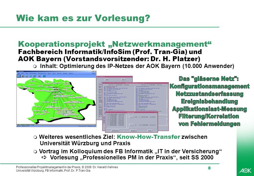 Professionelles Projektmanagement in der Praxis, © 2006 Dr. Harald Wehnes Universität Würzburg, FB Informatik, Prof. Dr. P.Tran-Gia 8 Wie kam es zur V