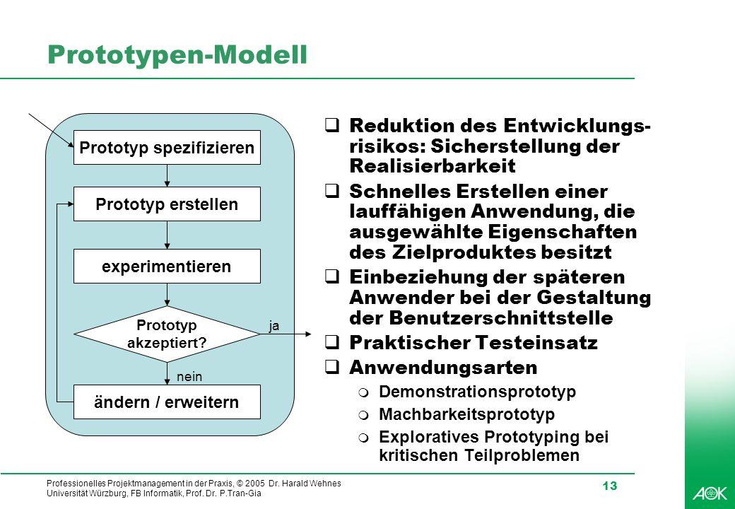 Professionelles Projektmanagement in der Praxis, © 2005 Dr. Harald Wehnes Universität Würzburg, FB Informatik, Prof. Dr. P.Tran-Gia 13 Prototypen-Mode