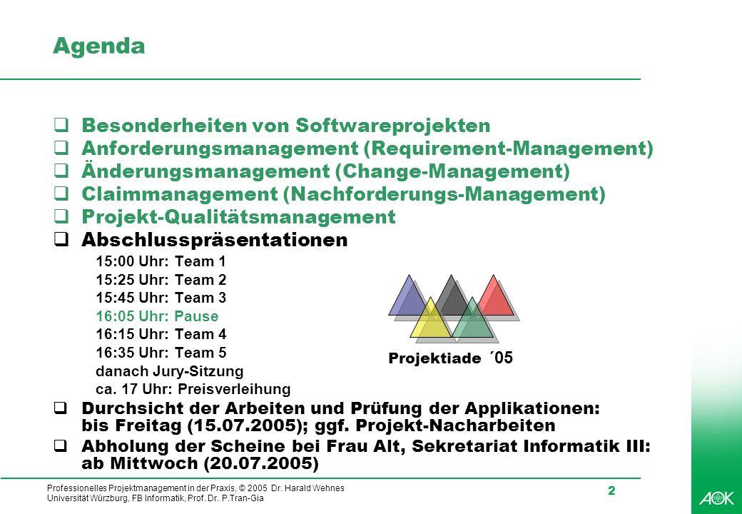 Professionelles Projektmanagement in der Praxis, © 2005 Dr. Harald Wehnes Universität Würzburg, FB Informatik, Prof. Dr. P.Tran-Gia 2 Agenda Besonderh