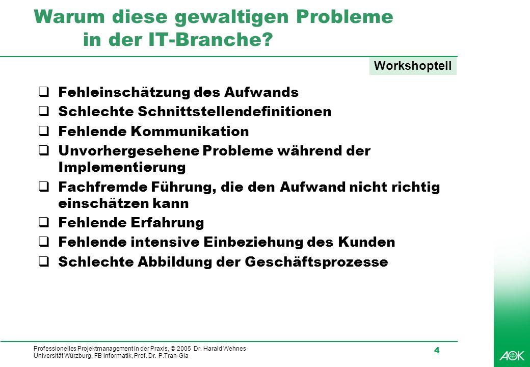 Professionelles Projektmanagement in der Praxis, © 2005 Dr. Harald Wehnes Universität Würzburg, FB Informatik, Prof. Dr. P.Tran-Gia 4 Warum diese gewa