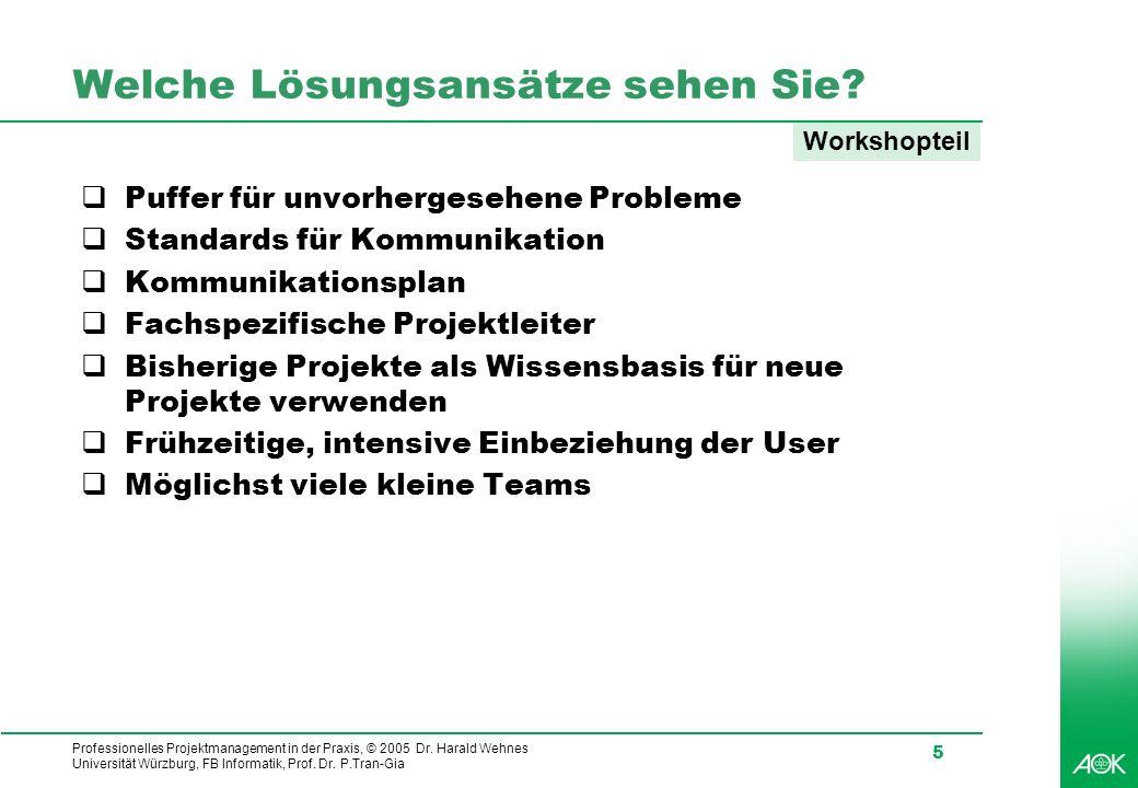 Professionelles Projektmanagement in der Praxis, © 2005 Dr. Harald Wehnes Universität Würzburg, FB Informatik, Prof. Dr. P.Tran-Gia 5 Welche Lösungsan