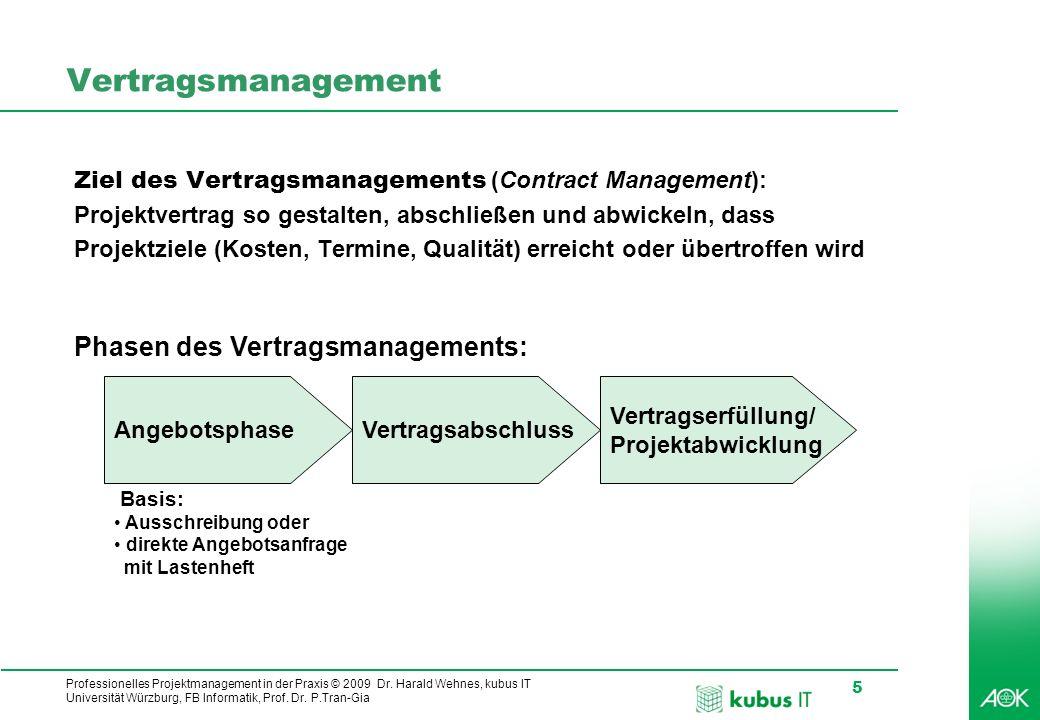 Professionelles Projektmanagement in der Praxis © 2009 Dr. Harald Wehnes, kubus IT Universität Würzburg, FB Informatik, Prof. Dr. P.Tran-Gia 5 Vertrag