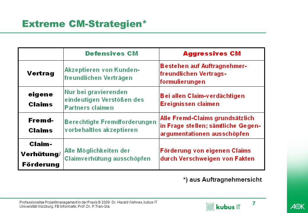 Professionelles Projektmanagement in der Praxis © 2009 Dr. Harald Wehnes, kubus IT Universität Würzburg, FB Informatik, Prof. Dr. P.Tran-Gia 7 Extreme