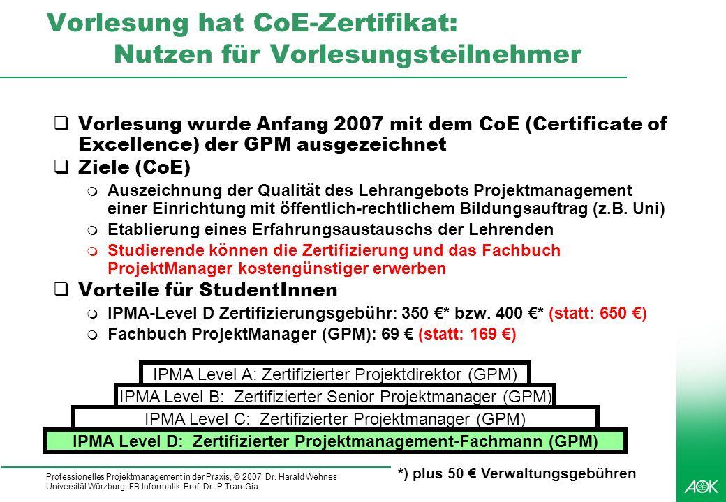 Professionelles Projektmanagement in der Praxis, © 2007 Dr. Harald Wehnes Universität Würzburg, FB Informatik, Prof. Dr. P.Tran-Gia 11 Vorlesung hat C