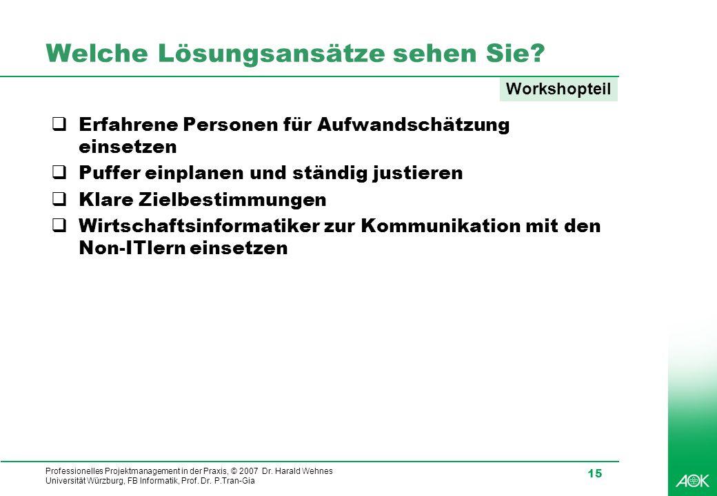 Professionelles Projektmanagement in der Praxis, © 2007 Dr. Harald Wehnes Universität Würzburg, FB Informatik, Prof. Dr. P.Tran-Gia 15 Welche Lösungsa