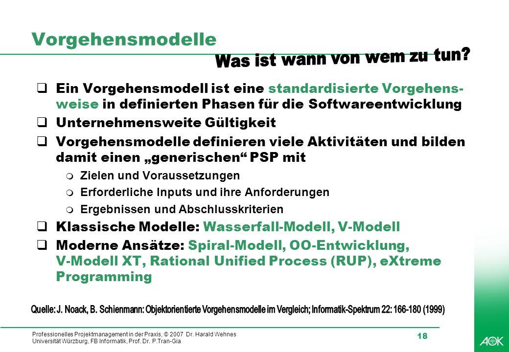 Professionelles Projektmanagement in der Praxis, © 2007 Dr. Harald Wehnes Universität Würzburg, FB Informatik, Prof. Dr. P.Tran-Gia 18 Vorgehensmodell