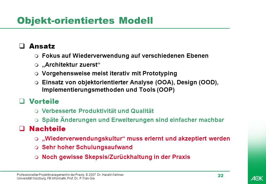 Professionelles Projektmanagement in der Praxis, © 2007 Dr. Harald Wehnes Universität Würzburg, FB Informatik, Prof. Dr. P.Tran-Gia 22 Objekt-orientie