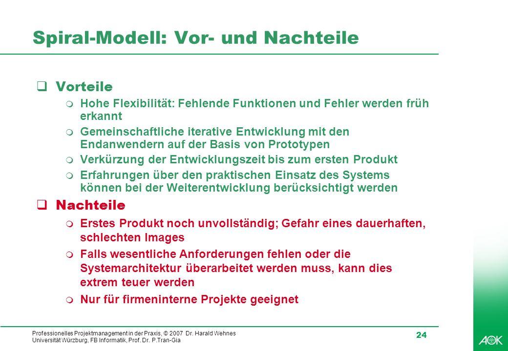 Professionelles Projektmanagement in der Praxis, © 2007 Dr. Harald Wehnes Universität Würzburg, FB Informatik, Prof. Dr. P.Tran-Gia 24 Spiral-Modell: