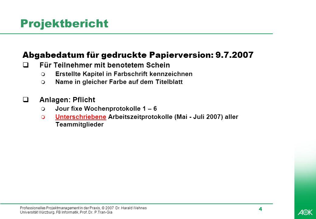 Professionelles Projektmanagement in der Praxis, © 2007 Dr. Harald Wehnes Universität Würzburg, FB Informatik, Prof. Dr. P.Tran-Gia 4 Projektbericht A