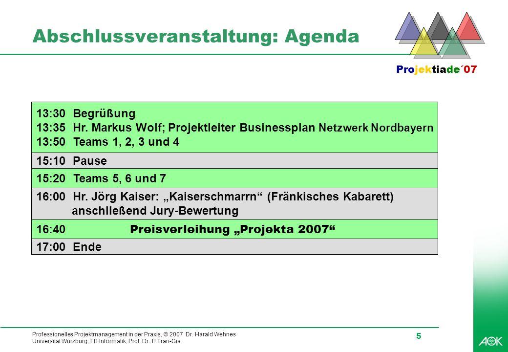 Professionelles Projektmanagement in der Praxis, © 2007 Dr. Harald Wehnes Universität Würzburg, FB Informatik, Prof. Dr. P.Tran-Gia 5 Abschlussveranst