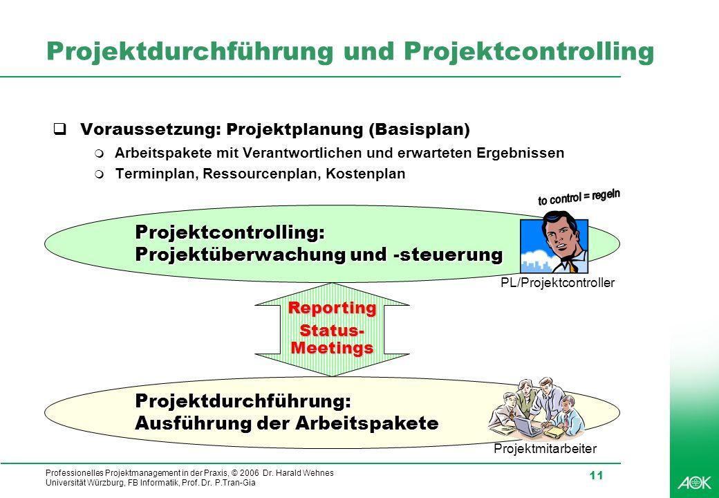 Professionelles Projektmanagement in der Praxis, © 2006 Dr. Harald Wehnes Universität Würzburg, FB Informatik, Prof. Dr. P.Tran-Gia 11 Projektcontroll