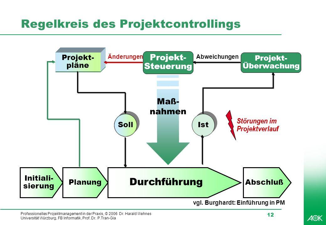 Professionelles Projektmanagement in der Praxis, © 2006 Dr. Harald Wehnes Universität Würzburg, FB Informatik, Prof. Dr. P.Tran-Gia 12 Regelkreis des