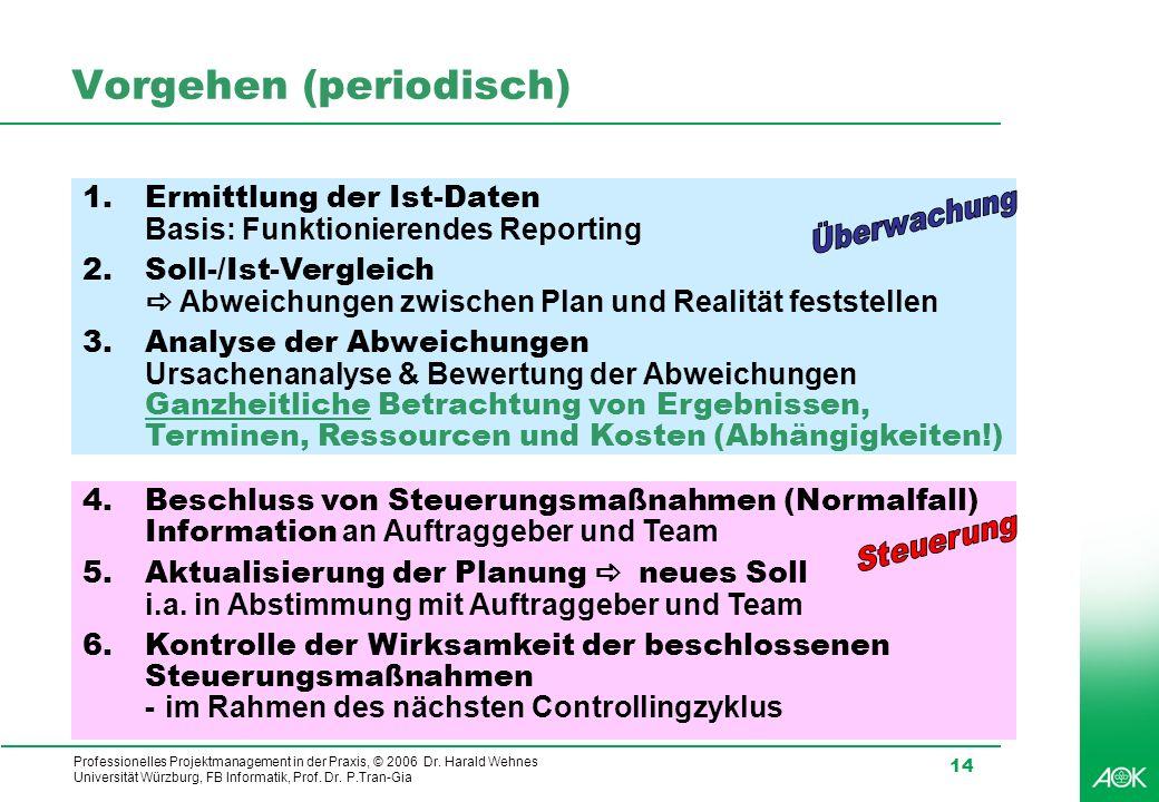 Professionelles Projektmanagement in der Praxis, © 2006 Dr. Harald Wehnes Universität Würzburg, FB Informatik, Prof. Dr. P.Tran-Gia 14 Vorgehen (perio