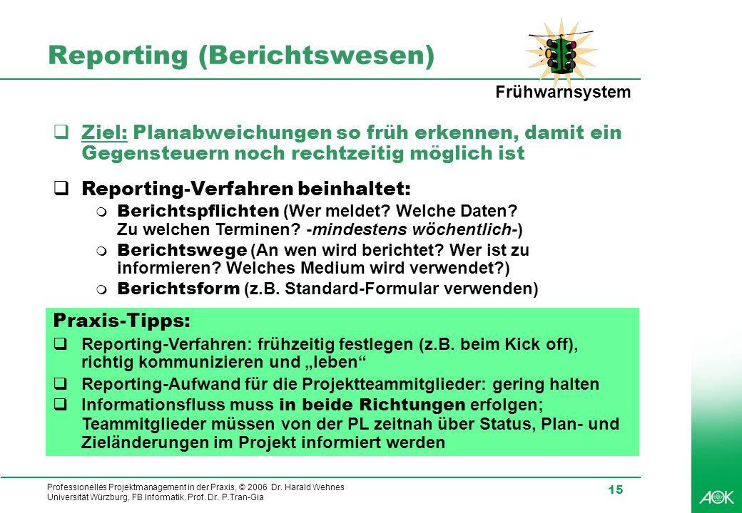 Professionelles Projektmanagement in der Praxis, © 2006 Dr. Harald Wehnes Universität Würzburg, FB Informatik, Prof. Dr. P.Tran-Gia 15 Reporting (Beri