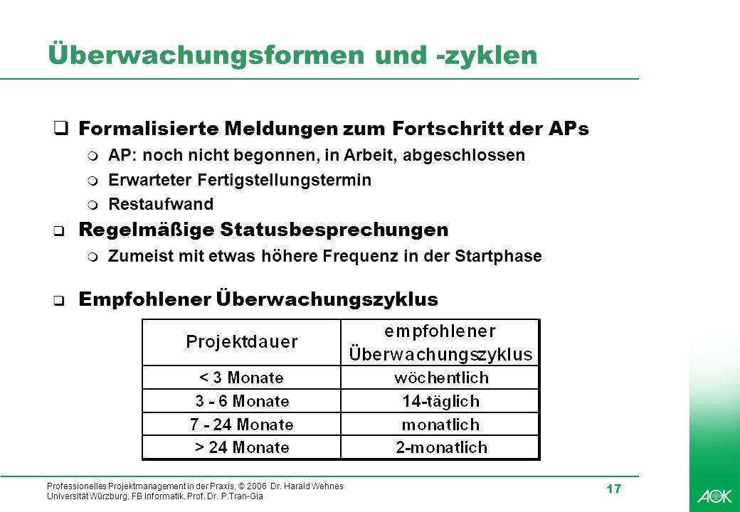 Professionelles Projektmanagement in der Praxis, © 2006 Dr. Harald Wehnes Universität Würzburg, FB Informatik, Prof. Dr. P.Tran-Gia 17 Überwachungsfor