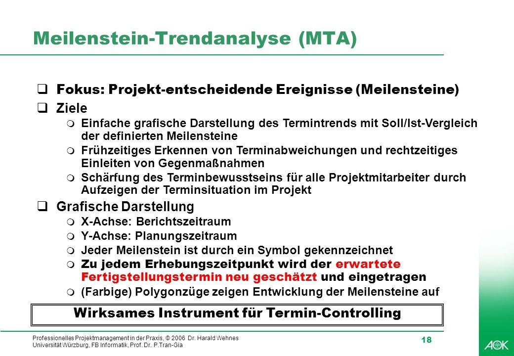 Professionelles Projektmanagement in der Praxis, © 2006 Dr. Harald Wehnes Universität Würzburg, FB Informatik, Prof. Dr. P.Tran-Gia 18 Meilenstein-Tre