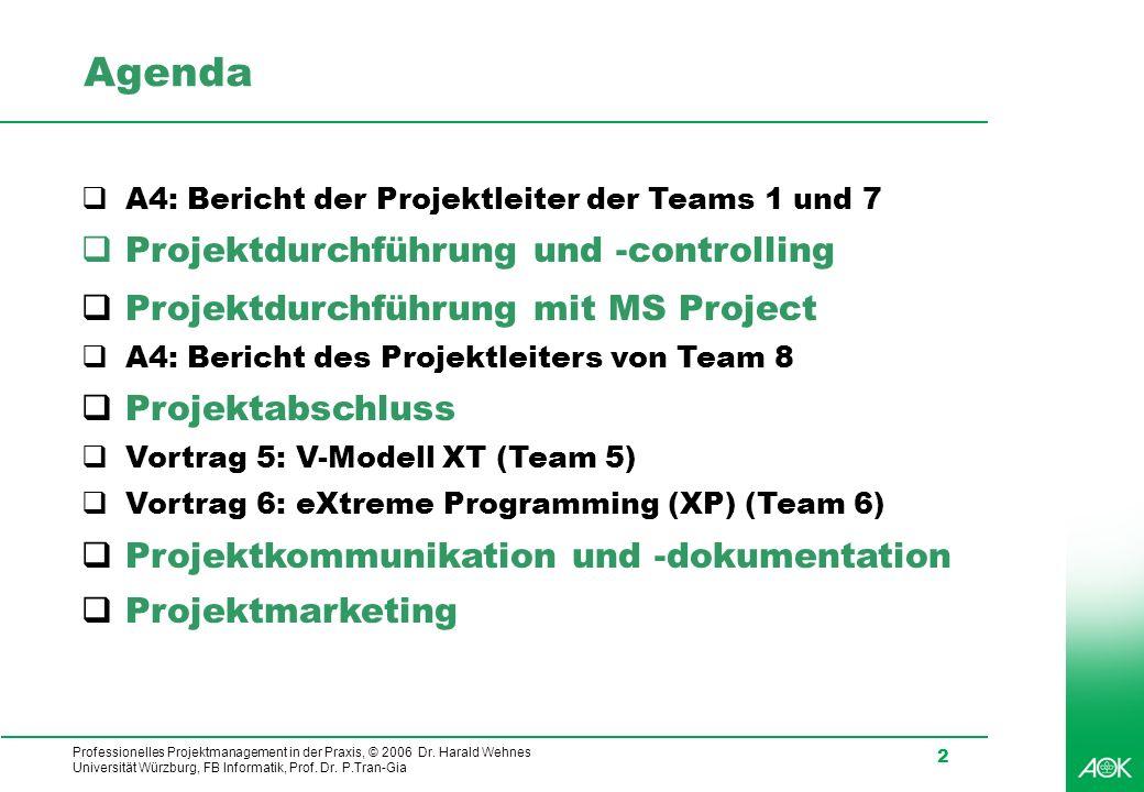 Professionelles Projektmanagement in der Praxis, © 2006 Dr. Harald Wehnes Universität Würzburg, FB Informatik, Prof. Dr. P.Tran-Gia 2 Agenda A4: Beric