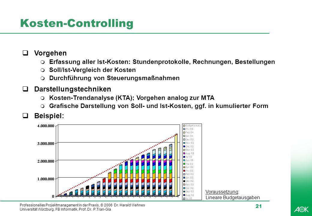 Professionelles Projektmanagement in der Praxis, © 2006 Dr. Harald Wehnes Universität Würzburg, FB Informatik, Prof. Dr. P.Tran-Gia 21 Kosten-Controll