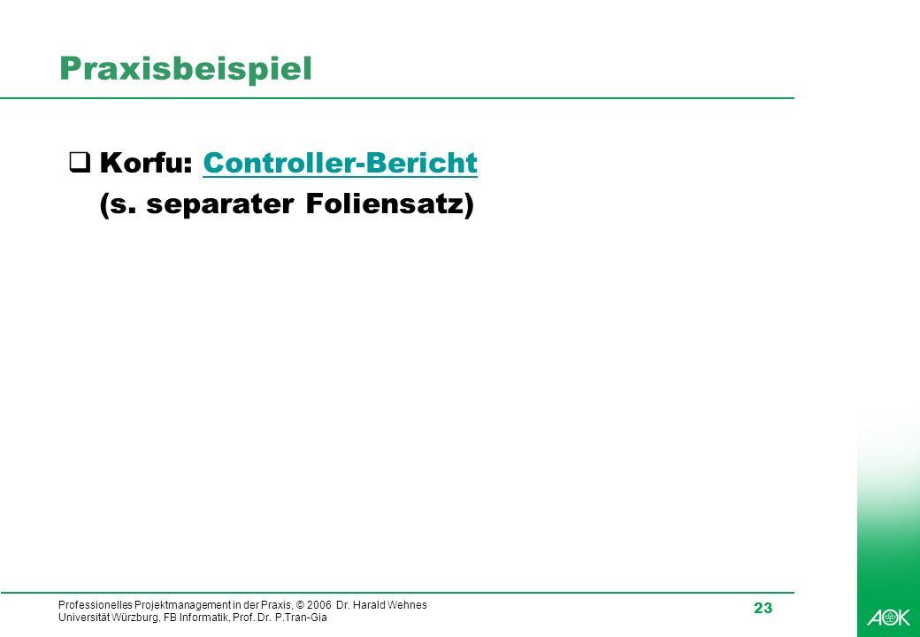 Professionelles Projektmanagement in der Praxis, © 2006 Dr. Harald Wehnes Universität Würzburg, FB Informatik, Prof. Dr. P.Tran-Gia 23 Praxisbeispiel