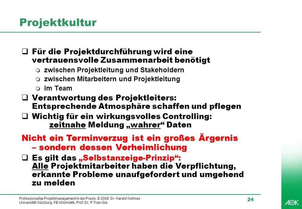 Professionelles Projektmanagement in der Praxis, © 2006 Dr. Harald Wehnes Universität Würzburg, FB Informatik, Prof. Dr. P.Tran-Gia 24 Projektkultur F