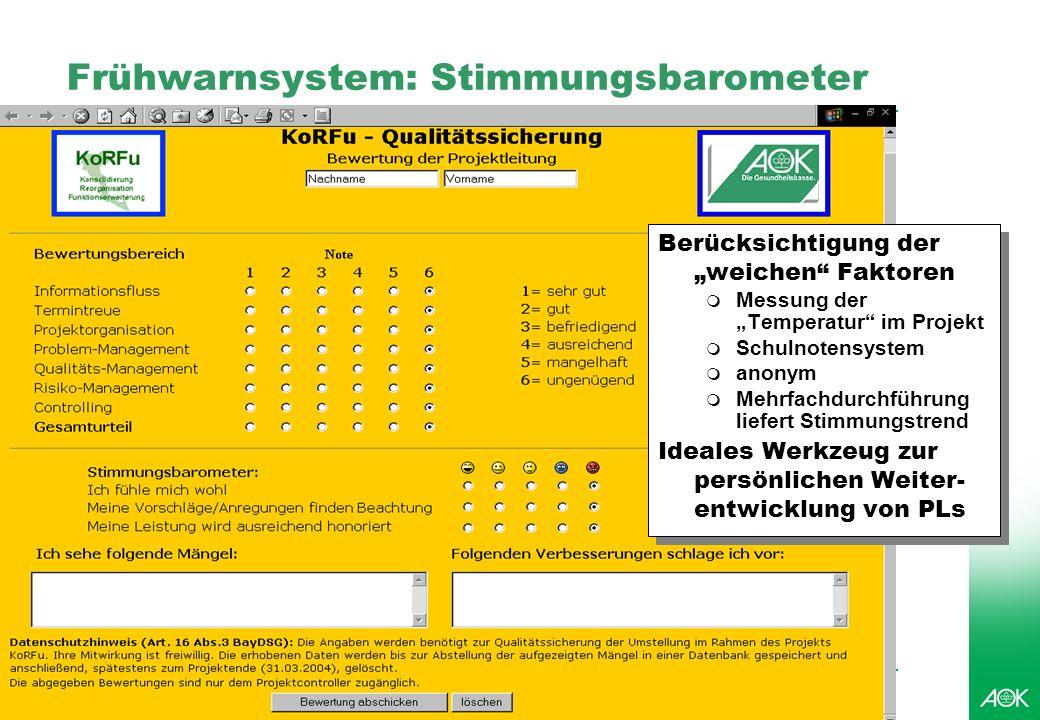 Professionelles Projektmanagement in der Praxis, © 2006 Dr. Harald Wehnes Universität Würzburg, FB Informatik, Prof. Dr. P.Tran-Gia 25 Frühwarnsystem:
