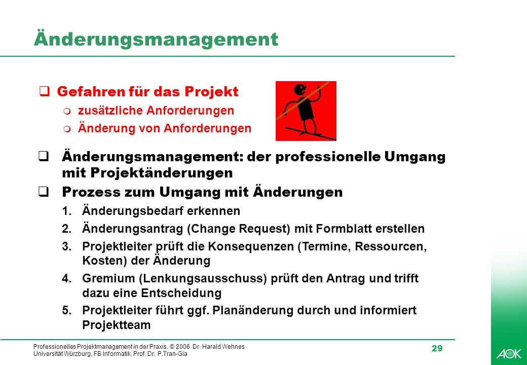 Professionelles Projektmanagement in der Praxis, © 2006 Dr. Harald Wehnes Universität Würzburg, FB Informatik, Prof. Dr. P.Tran-Gia 29 Änderungsmanage