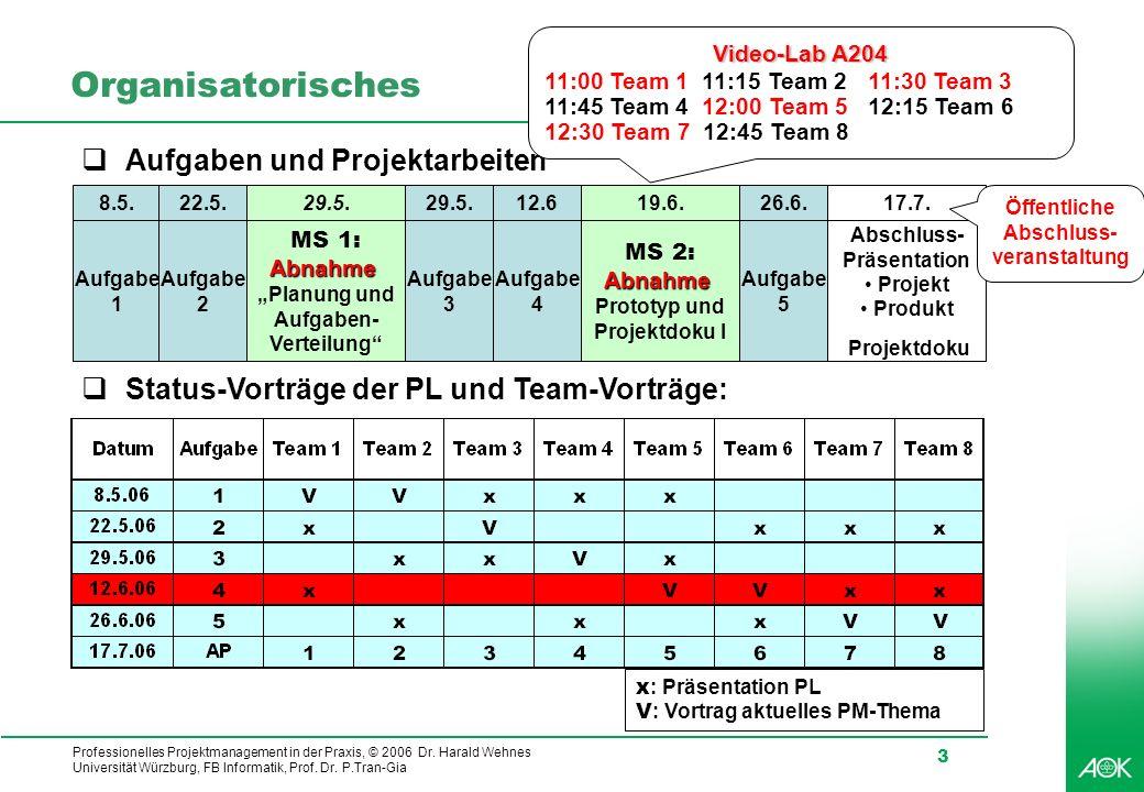 Professionelles Projektmanagement in der Praxis, © 2006 Dr. Harald Wehnes Universität Würzburg, FB Informatik, Prof. Dr. P.Tran-Gia 3 Organisatorische