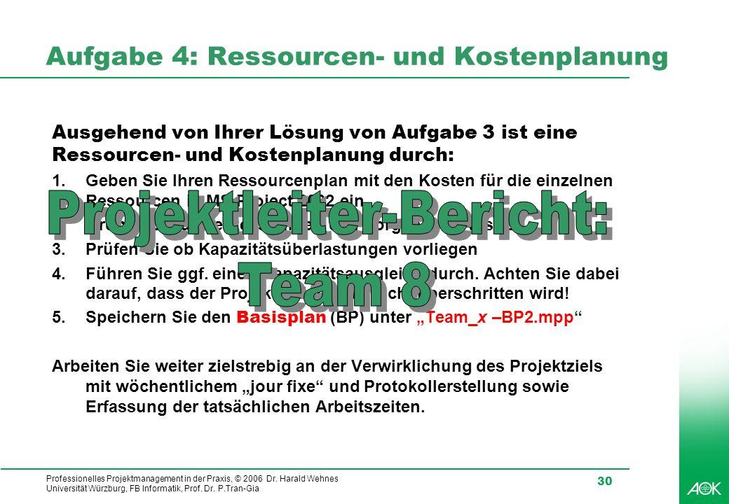 Professionelles Projektmanagement in der Praxis, © 2006 Dr. Harald Wehnes Universität Würzburg, FB Informatik, Prof. Dr. P.Tran-Gia 30 Aufgabe 4: Ress