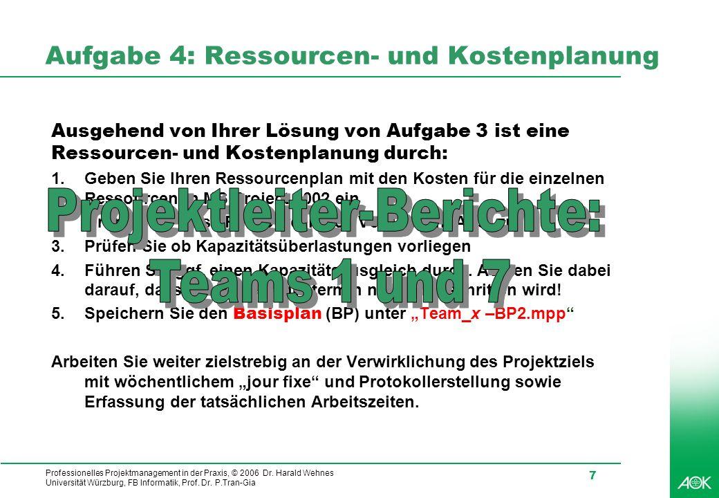 Professionelles Projektmanagement in der Praxis, © 2006 Dr. Harald Wehnes Universität Würzburg, FB Informatik, Prof. Dr. P.Tran-Gia 7 Aufgabe 4: Resso