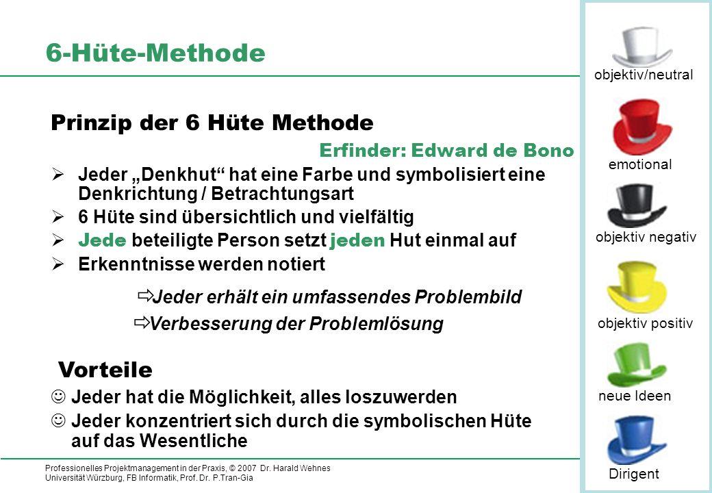 Professionelles Projektmanagement in der Praxis, © 2007 Dr. Harald Wehnes Universität Würzburg, FB Informatik, Prof. Dr. P.Tran-Gia 11 6-Hüte-Methode