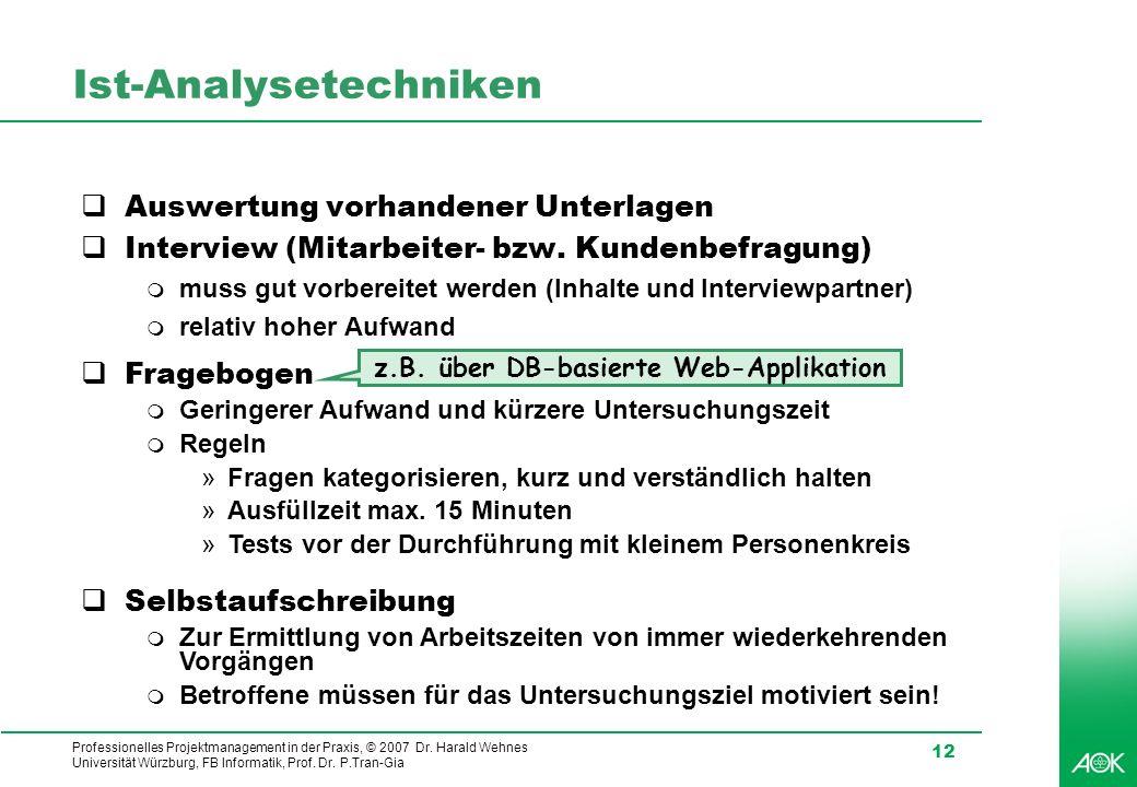 Professionelles Projektmanagement in der Praxis, © 2007 Dr. Harald Wehnes Universität Würzburg, FB Informatik, Prof. Dr. P.Tran-Gia 12 Ist-Analysetech