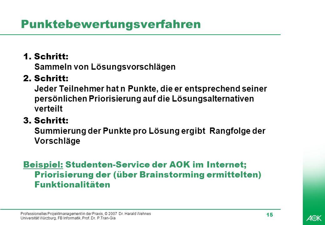 Professionelles Projektmanagement in der Praxis, © 2007 Dr. Harald Wehnes Universität Würzburg, FB Informatik, Prof. Dr. P.Tran-Gia 15 Punktebewertung