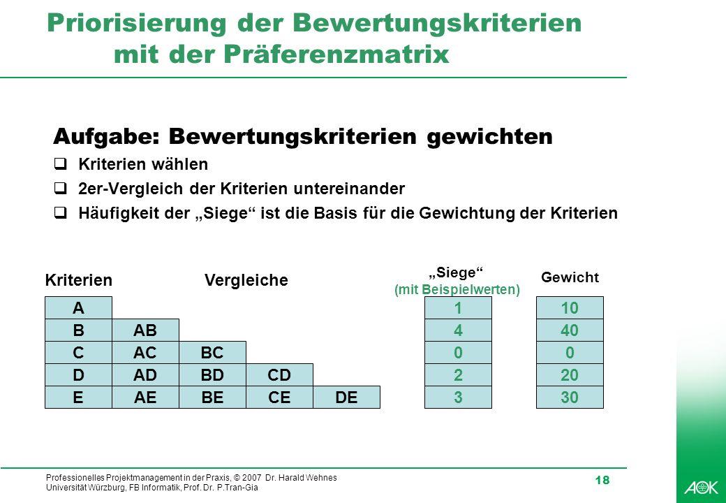 Professionelles Projektmanagement in der Praxis, © 2007 Dr. Harald Wehnes Universität Würzburg, FB Informatik, Prof. Dr. P.Tran-Gia 18 Priorisierung d