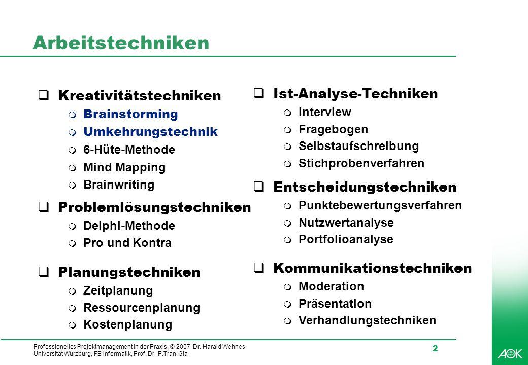Professionelles Projektmanagement in der Praxis, © 2007 Dr. Harald Wehnes Universität Würzburg, FB Informatik, Prof. Dr. P.Tran-Gia 2 Arbeitstechniken