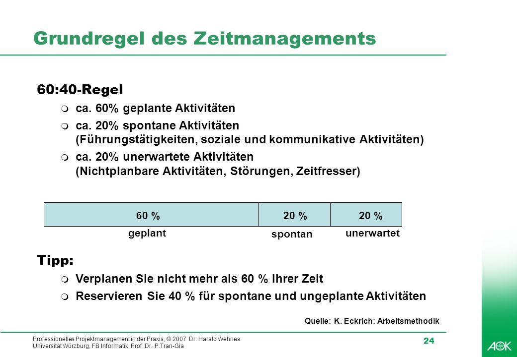Professionelles Projektmanagement in der Praxis, © 2007 Dr. Harald Wehnes Universität Würzburg, FB Informatik, Prof. Dr. P.Tran-Gia 24 Grundregel des