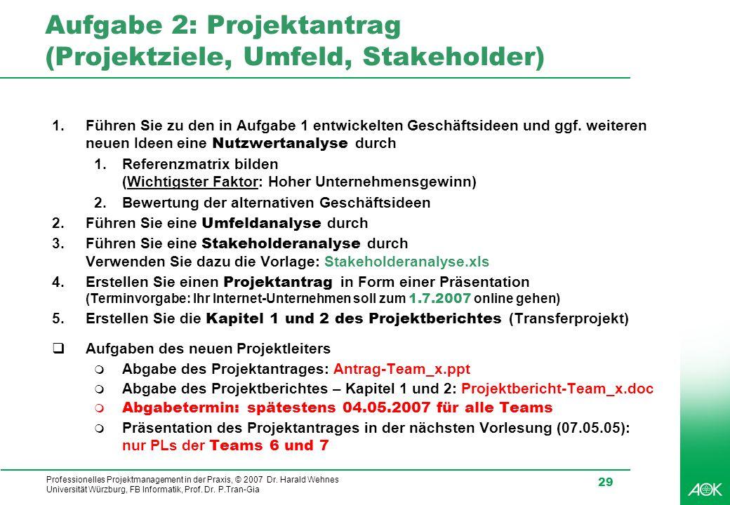 Professionelles Projektmanagement in der Praxis, © 2007 Dr. Harald Wehnes Universität Würzburg, FB Informatik, Prof. Dr. P.Tran-Gia 29 Aufgabe 2: Proj